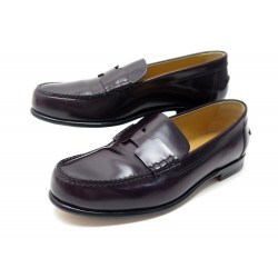 NEUF CHAUSSURES HERMES KENNEDY H151257Z 37 MOCASSINS CUIR BORDEAUX LOAFERS 760€