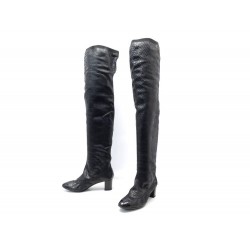 NEUF CHAUSSURES CHANEL BOTTES CUISSARDES 39 EN CUIR PYTHON NOIR BOOTS 3500€