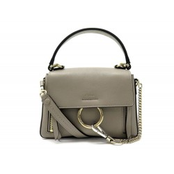NEUF SAC A MAIN CHLOE DOUBLE PORTE FAYE DAY SMALL BANDOULIERE CUIR TAUPE 1490€
