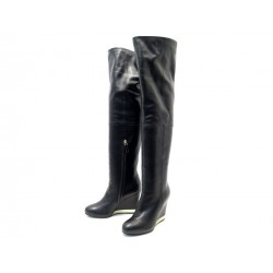 NEUF CHAUSSURES CHANEL G31303 37.5 BOTTES CUISSARDES TALONS COMPENSES CUIR 1500€