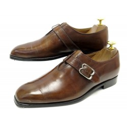 CHAUSSURES BERLUTI OLGA 0795 7 41 MOCASSINS A BOUCLE CUIR MARRON LOAFERS 1530€