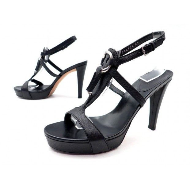 007113332 Chaussures Gucci 234924 37 Sandales A Talons Cuir Cuir Cuir Noir ...