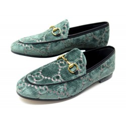 NEUF CHAUSSURES GUCCI JORDAAN 431467 37.5 MOCASSINS VELOURS TURQUOISE SHOES 595€