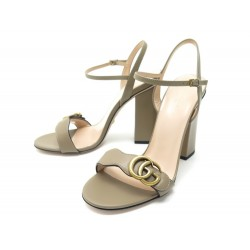NEUF CHAUSSURES GUCCI DOUBLE G 628012 39 40 FR SANDALES A TALONS CUIR TAUPE 630€