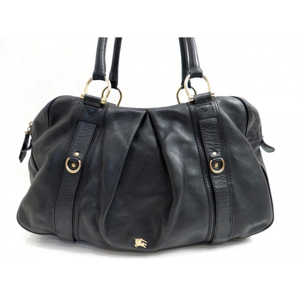 SAC A MAIN BURBERRY CABAS EPAULE 48 CM EN CUIR NOIR LEATHER HAND BAG PURSE 1200€