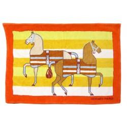 NEUF SORTIE TAPIS DE BAIN HERMES CHEVAUX EN COTON ORANGE HORSES BATH CARPET 350€