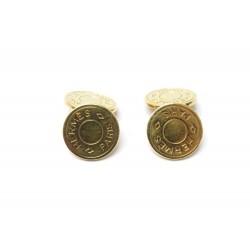 BOUTONS DE MANCHETTE HERMES CLOUS DE SELLE METAL DORES GOLDEN CUFFLINKS 395€