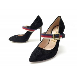 NEUF CHAUSSURES GUCCI ESCARPINS SYLVIE 506197 39 IT 40 FR GG VELOURS SHOES 590€