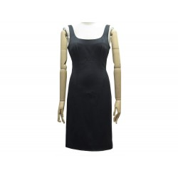 ROBE PRADA DOS NU SANS MANCHE 40 FR M EN SOIE NOIR BLACK SILK DRESS 1790€