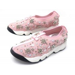 NEUF CHAUSSURES DIOR FUSION 36.5 BASKETS EN TOILE ROSE NEW CANVAS SNEAKERS 890€