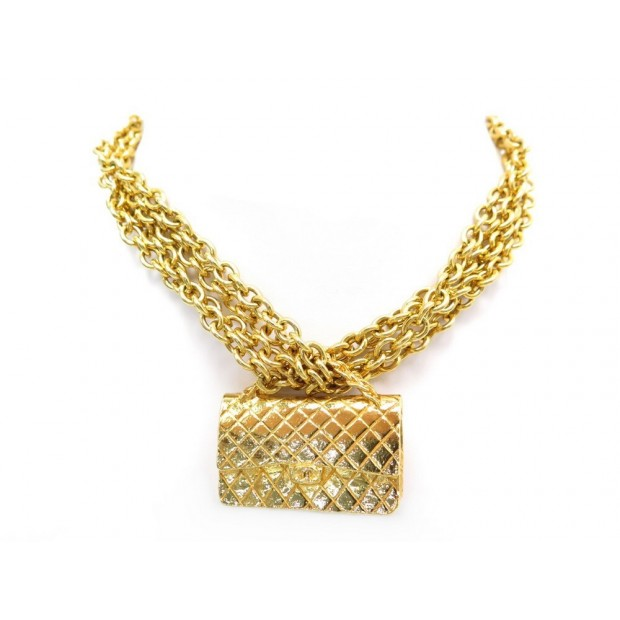 RARE VINTAGE COLLIER CHANEL CHAINE 4 RANGS PENDENTIF SAC TIMELESS DORE NECKLACE