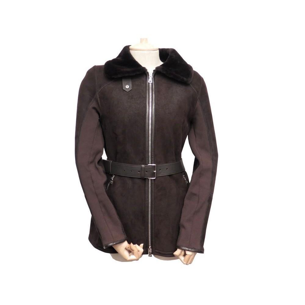 7d40c364523 veste prada 38 m 148178 blouson en cuir peau lainee