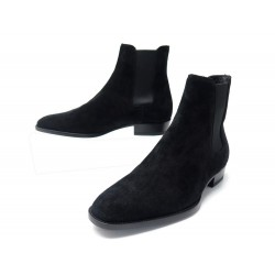 NEUF CHAUSSURES SAINT LAURENT BOTTINES WYATT 443200 39 IT 40 FR NOIR BOOTS 695€