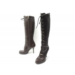 CHAUSSURES CHRISTIAN DIOR BOTTES A LACETS 39.5 39 CUIR MARRON BOOTS SHOES 1650€