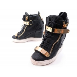 CHAUSSURES GIUSEPPE ZANOTTI BASKET COBY WEDGE 37.5 IT 38.5 FR CUIR SNEAKERS 850€