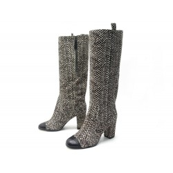 NEUF CHAUSSURES CHANEL G26922 37.5 BOTTES CAVALIERES A TALONS CUIR POULAIN 1200€