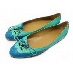 NEUF CHAUSSURES HERMES KLOE 37 BALLERINES CUIR TURQUOISE LEATHER FLAT SHOES 470€