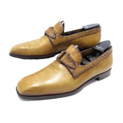 CHAUSSURES BERLUTI 10 44 MOCASSINS A BOUCLE EN CUIR CAMEL LEATHER LOAFERS 1280€