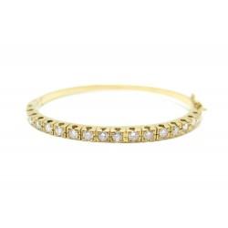 BRACELET JONC EN OR JAUNE 18K 23GR SERTI 17 DIAMANTS 3MM 1.7 CT GOLD & DIAMONDS