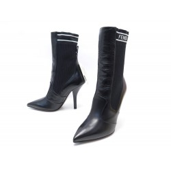 NEUF CHAUSSURES FENDI BOTTINES SOCK 8T6645 38 IT 39 FR TOILE & CUIR BOOTS 890€