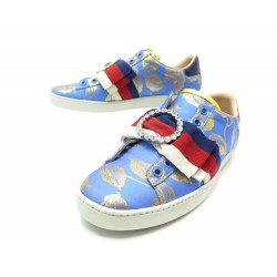 CHAUSSURES GUCCI BASKETS 498705 37.5 IT 38.5 FR TOILE BLEU SNEAKERS SHOES 595€