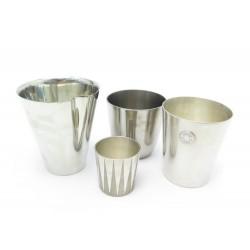 LOT DE 4 TIMBALES HERMES GOBELETS CLOUS DE SELLE EN ETAIN ARGENTE TIN CUPS SET