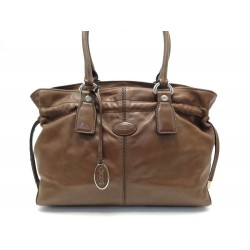 SAC A MAIN TOD'S CABAS EN CUIR MARRON 34 CM BROWN LEATHER HAND TOTE BAG 995€