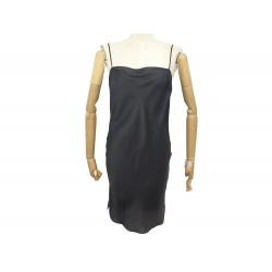 ROBE HERMES NUISETTE 42 L EN SOIE GRIS + BOITE GREY SILK DRESS BABYDOLL