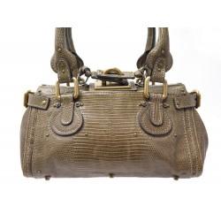 NEUF SAC A MAIN CHLOE PADDINGTON PM EN CUIR LEZARD MARRON LIZARD BAG PURSE 4800€
