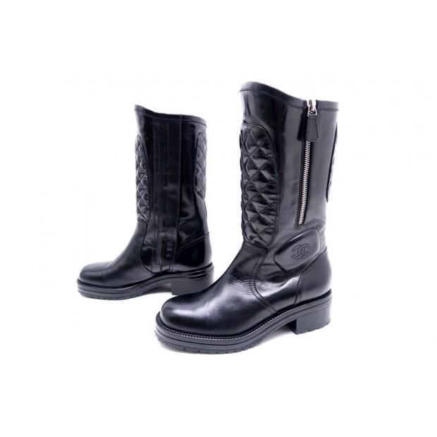 plus de photos dd431 3697a chaussures bottes chanel motardes g29305 37.5