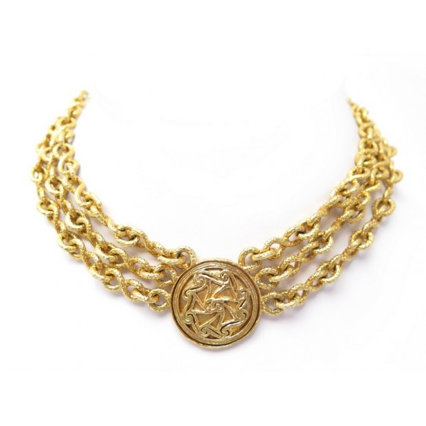 NEUF VINTAGE COLLIER CHANEL RAS DU COU MEDAILLON CHAINE METAL DORE NECKLACE