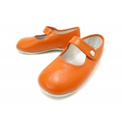 NEUF CHAUSSONS HERMES PIF CHEVAL A BASCULE 25 CUIR ORANGE BEBE BABY SHOES 245€