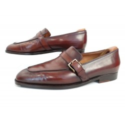 CHAUSSURES JOHN LOBB SUR MESURE MOCASSINS A BOUCLES 41 CUIR LOAFER SHOES 5890€