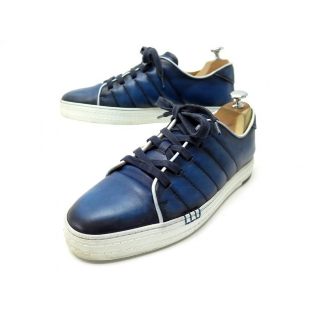 CHAUSSURES BERLUTI BASKETS PLAYFIELD 8 42 CUIR BLEU SNEAKERS LEATHER SHOES 1075€