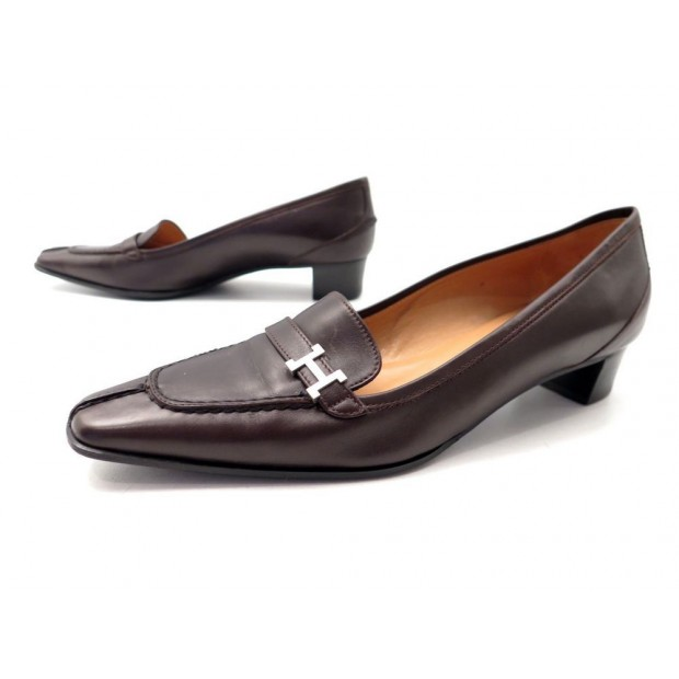 style actuel véritable mieux aimé chaussures hermes 37 mocassins en cuir marron sac