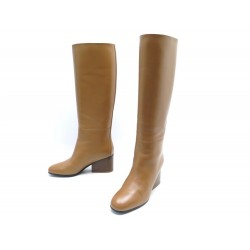 NEUF CHAUSSURES HERMES BOTTES NEW JERSEY 37.5 CUIR VEAU PALISSANDRE +BOITE 1800€