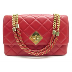 SAC A MAIN MOSCHINO BANDOULIERE EN CUIR ROUGE MATELASSE LEATHER HAND BAG 795€