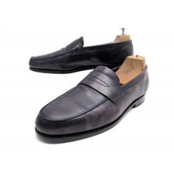CHAUSSURES JOHN LOBB MOCASSINS FINEDON 8E 42 CUIR ANTHRACITE LEATHER SHOES 760€