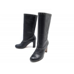 CHAUSSURES PRADA BOTTES CLOUTEES 37 IT 38 FR ENCUIR NOIR STUDDED BOOTS 1100€