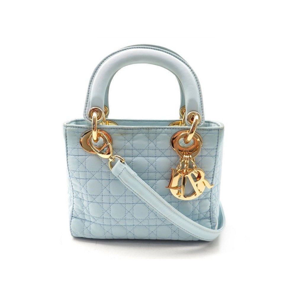b2663f8cf0 SAC A MAIN CHRISTIAN DIOR LADY MINI TOILE BLEU. Loading zoom