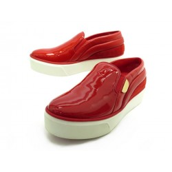 NEUF CHAUSSURES LOUIS VUITTON BASKETS SLIP ON 36.5 CUIR VERNIS ROUGE SHOES 690€