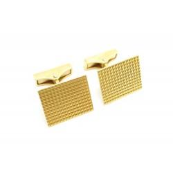 BOUTONS DE MANCHETTES RECTANGLE GUILLOCHE EN OR JAUNE 18K 11.6 GR GOLD CUFFLINKS