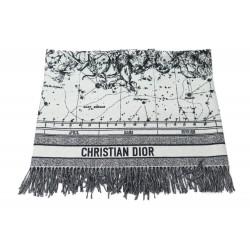 NEUF PLAID CHRISTIAN DIOR ZODIAC 11ZOD351I151 EN LAINE GRIS + BOITE WOOL 1290€