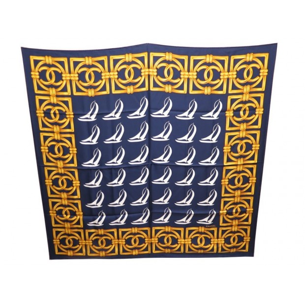 Prix 50% livraison gratuite guetter foulard chanel bateaux a voile logo cc carre en