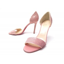 NEUF CHAUSSURES CHRISTIAN LOUBOUTIN SANDALES TALONS 40.5 SEQUIN ROSE SHOES 645€