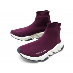 CHAUSSURES BALENCIAGA SPEED 38 BASKETS TOILE BORDEAUX CANVAS SNEAKERS SHOES 645€