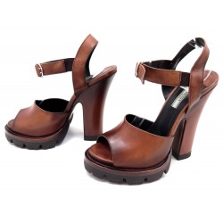 NEUF CHAUSSURES PRADA SANDALES A TALONS 40 CUIR MARRON LEATHER SANDAL SHOES 550€