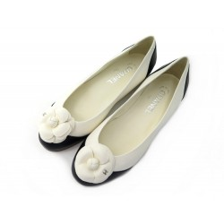 NEUF BALLERINES CHANEL CAMELIA G30069 37.5 EN CUIR CREME CHAUSSURES SHOES 690€