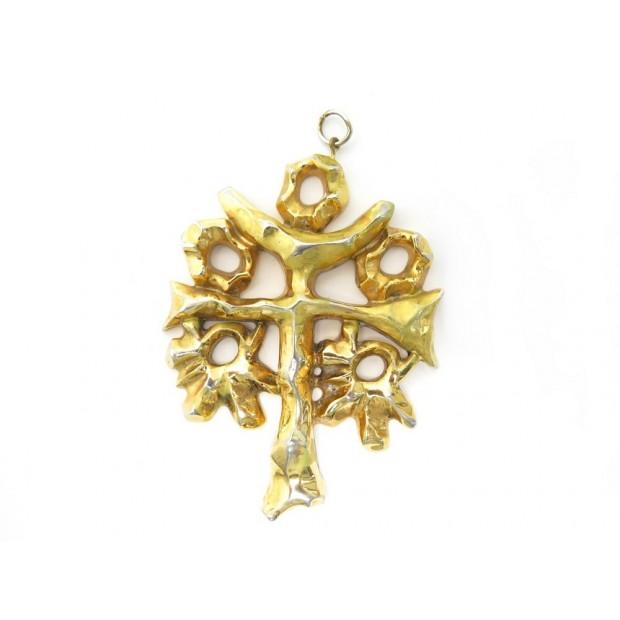 VINTAGE PENDENTIF CHRISTIAN LACROIX CROIX EN METAL DOREE GOLDEN CROSS PENDANT