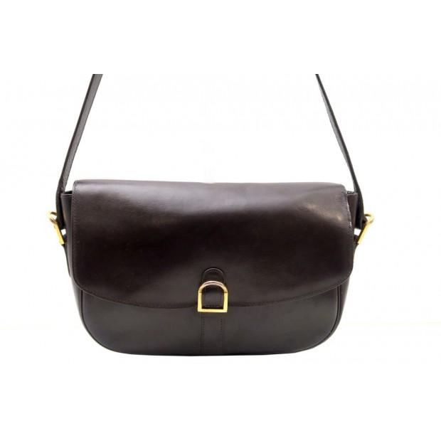 VINTAGE SAC A MAIN HERMES PORTE EPAULE CUIR BOX MARRON HAND BAG PURSE